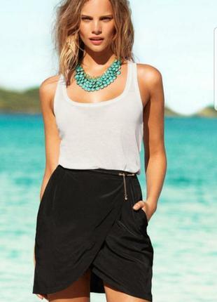 #розвантвжуюсь черная юбка мини на запах летняя с карманами