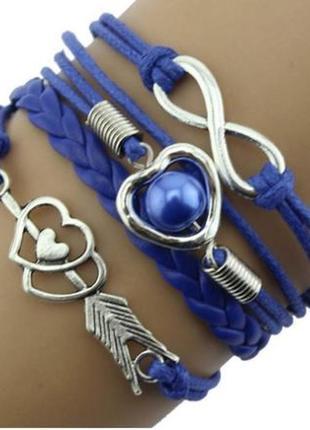 Многослойный плетенный браслет с подвеской бесконечность и сер...
