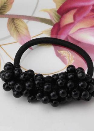 Заколка резинка для волос черные жемчужинки