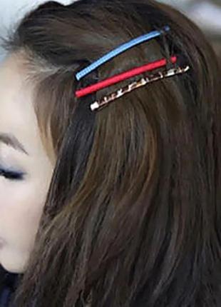Длинная заколка невидимка для волос красного цвета