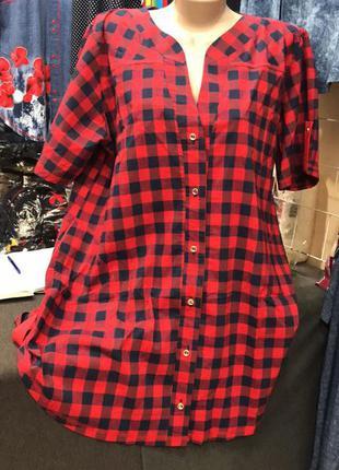Женская рубашка клетка красная от 52 до 66