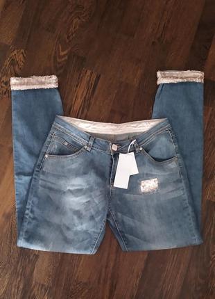 Новые джинсы итальянского бренда fun & fun в пудровых пайетках
