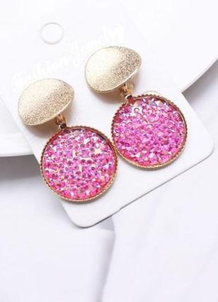 Яркие круглые розовые серьги