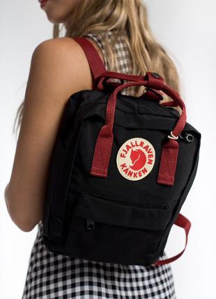 Рюкзак fjallraven kanken mini 7 л black ox red