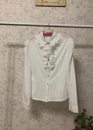 Белая блузка рубашка с жабо, новая!