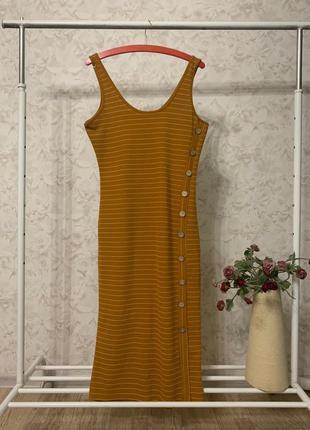 Горчичное платье в полоску primark, новое!