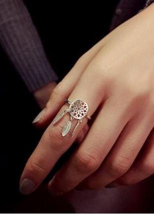 Оригинальное кольцо ловец снов золотистого цвета