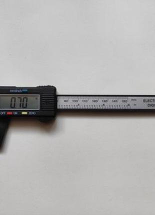 Штангенциркуль электронный длина 150мм 0.1 мм карбон, пластик