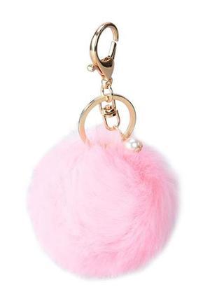 Брелок пушок помпон на сумку розовый