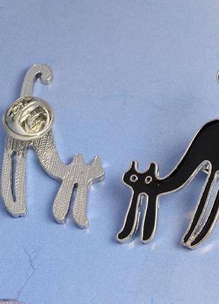 Значок на одежду со штырем, брошь черный кот