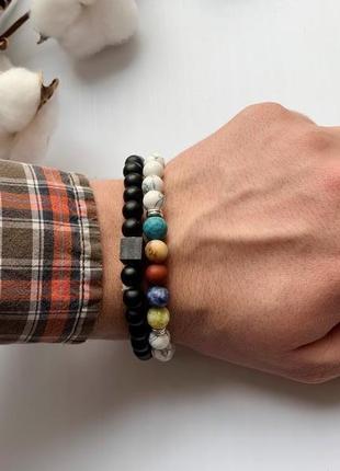 Набор мужских браслетов, мужской парный браслет из натуральных...
