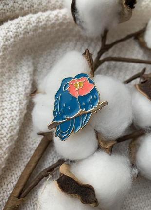 Брошь на одежду, значок попугаи неразлучники