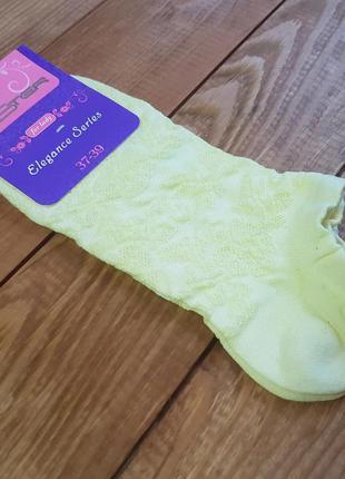 """Носки укороченные желтые """"розочки"""", размер 25 / 37-39р."""