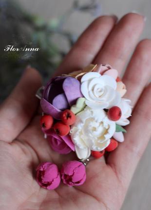 """Красивый комплект украшений с цветами из полимерной глины """"ярк..."""