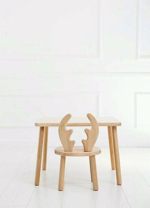 Детский комплект стол + два стула из натурального дерева