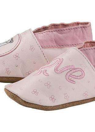 Детские кожаные пинетки, чешки, тапочки для девочки lupilu