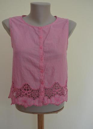 Легкая брендовая блуза топ с гипюром