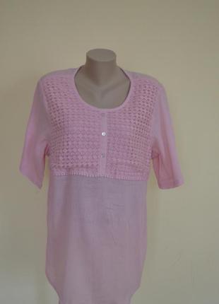 Легкая хлопковая блуза с гипюром большой размер 20