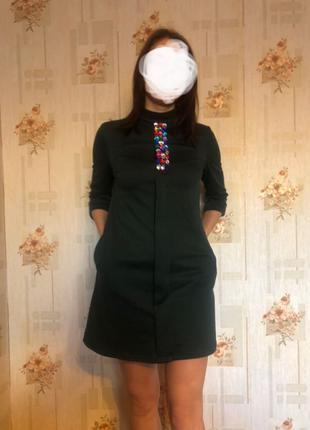 Платье цвета хаки, S-M