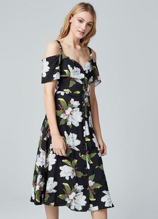 Платье миди с принтом магнолии warehouse 🌸 сарафан на пуговица...
