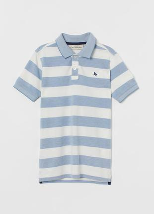 # розвантажуюсь белая детская футболка-поло h&m в полоску на 1...
