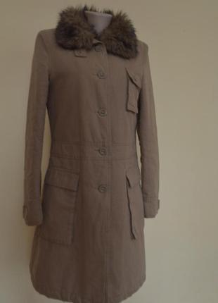 Шикарное модное теплое пальто парка с меховым воротником