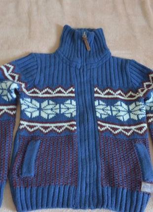 Очень красивая теплая кофта -свитер для мальчика 12 лет на молнии