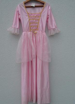 Шикарное карнавальное платье для девочки 7-8 лет розовое длинное