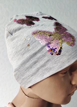 Красивая шапочка на девочку с реверсивными бабочками, шапка на...