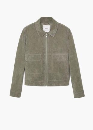 Кожаная куртка mango 💔 светло-серая куртка из натуральной кожи...