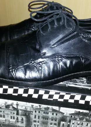 Туфли LOUIS ALBERTI,кожа+кожа рептилии, размер 42, туфли мужские