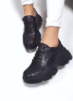 Кожаные кроссовки на грубой тракторной подошве в стиле balenci...
