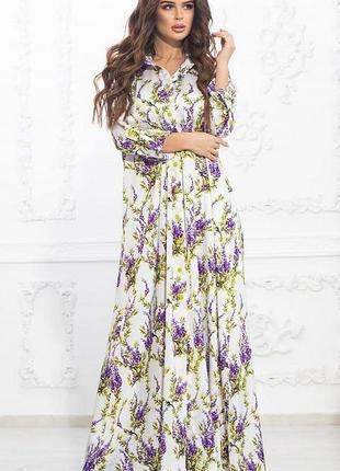 Шикарное шелковистое весеннее макси платье большие размеры