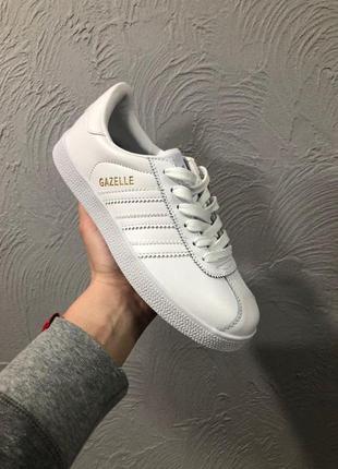 Adidas gazelle кожаные женские кроссовки адидас белый цвет (ве...