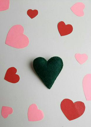 Брошка серце, валентинка, брошь сердце, сердечко, подарок, зел...