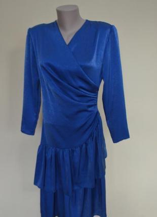 Классное английское платье синего цвета длинный рукав