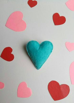 Брошка серце, валентинка, брошь сердце, сердечко, подарок, мят...