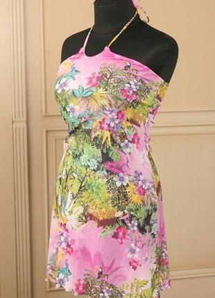 Пляжное итальянское стрейчевое платье rosapois цветочный принт...