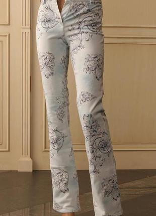 S / xs модные голубые джинсы с французским рисунком luisa cerano