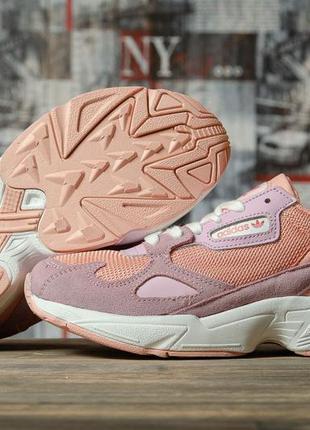 Кроссовки женские 16746 ► adidas falcon, розовые