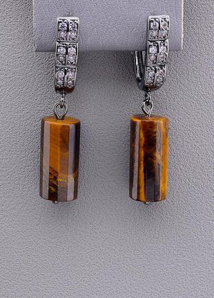 Серьги 'sunstones' тигровый глаз (хром) 0891230