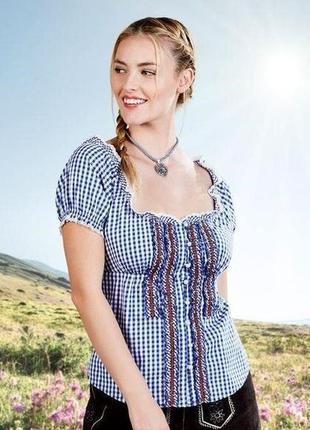 Женская хлопковая блуза рубашка в клетку esmara германия