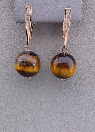 Серьги 'sunstones' тигровый глаз (позолота 18к) 0891280