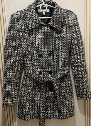 Стильное женское твидовое пальто с поясом в клетку шерсть в со...