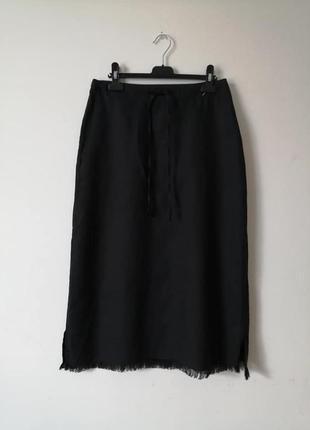 Льняная юбка миди с бахромой
