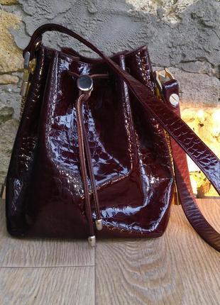 Кожаная сумка торба боченок винтаж