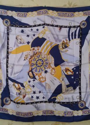 Платок морская тематика 85*84 шов роуль