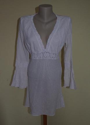 Шикарная туника-платье из котона белая с кружевом