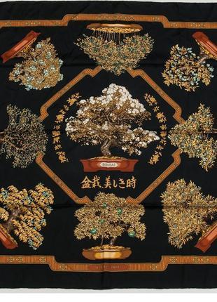 "Hermes ""les beaux jours de bonsai"" оригинал платок 89*89 шёлк"