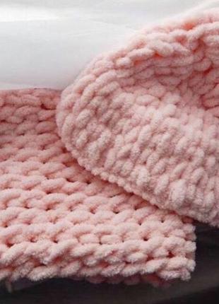 Плюшевый комплект, вязаный набор, шапка, снуд, шарф, хомут